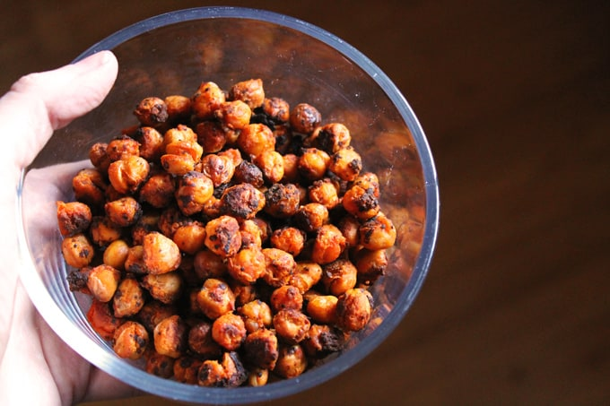 Roasted buffalo chickpeas in a bowl