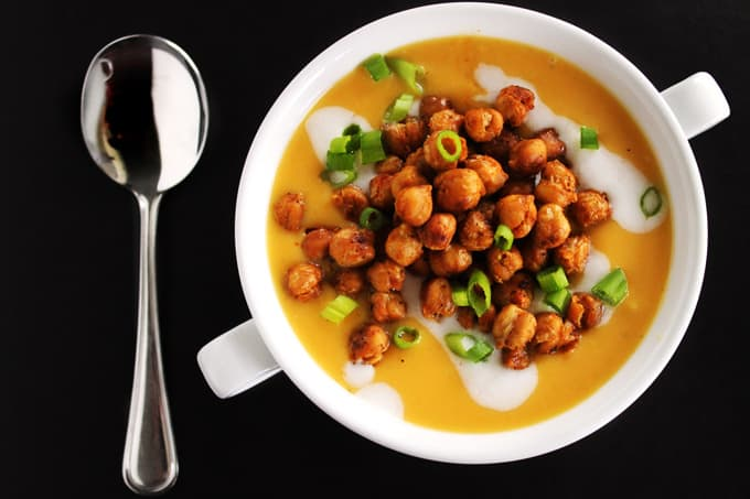 butternut squash soup with chickpeas and a spoon