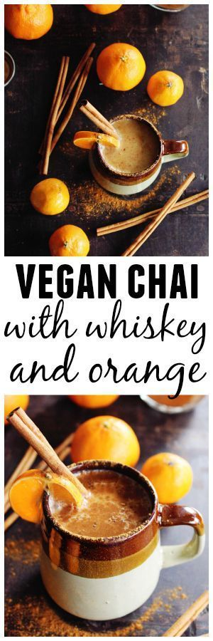 A warm and cozy vegan chai whiskey cocktail recipe! Almond milk steeped chai tea with whiskey and freshly squeezed orange juice. Delicious! // Rhubarbarians #whiskey #chai #vegan #cocktail #wintercocktail #fallcocktail