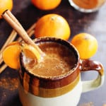 Almond milk chai with whiskey and orange