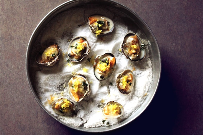 Littleneck clams with lemon, thyme, and parmesan