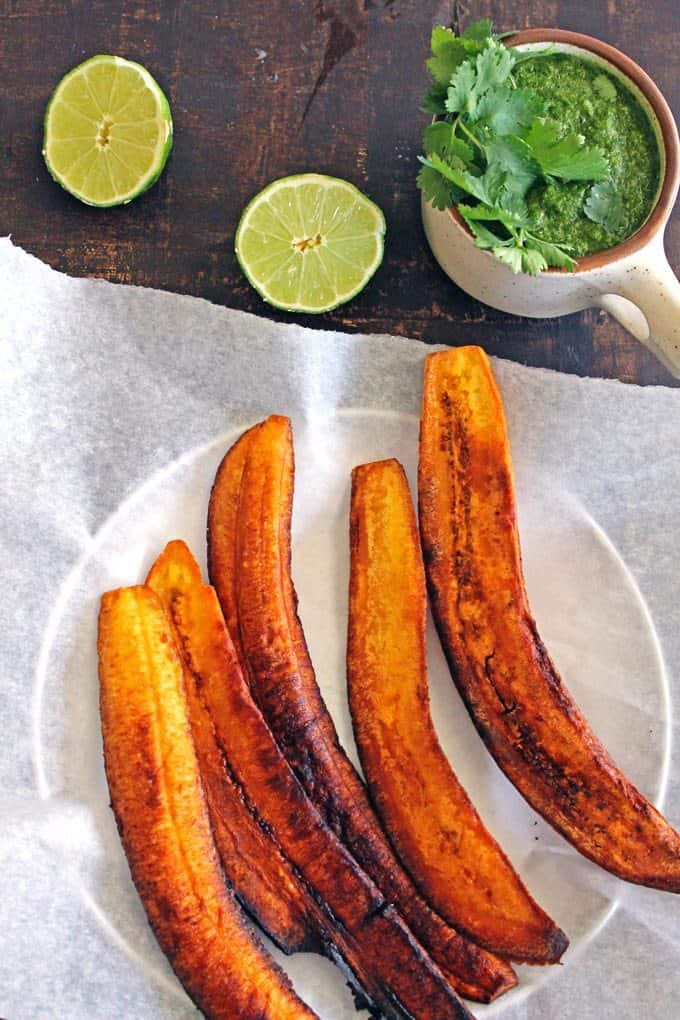 fried plantains with aji sauce