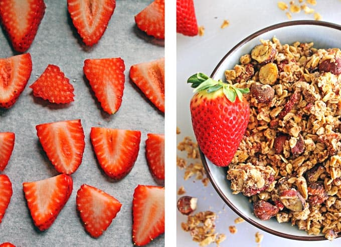 Roasted strawberry hazelnut milk pulp granola