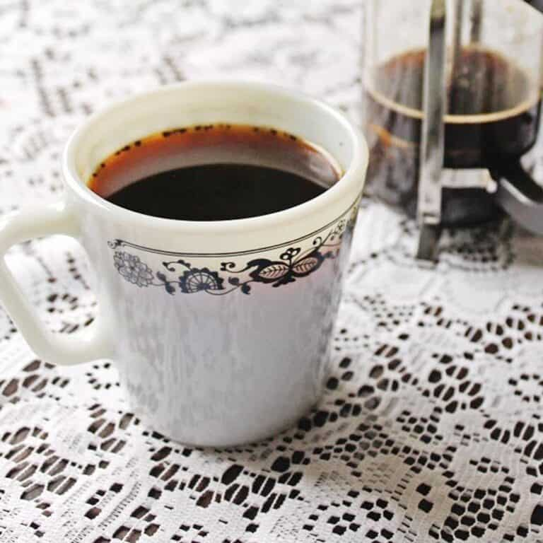 Colombian coffee in a white mug