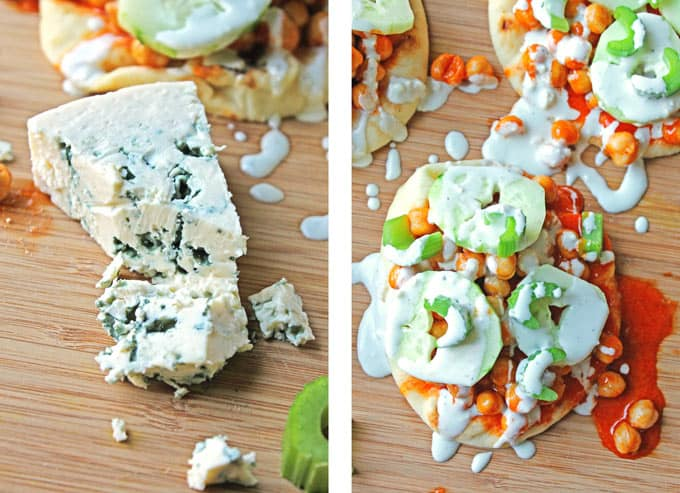 Buffalo chickpea flatbreads with blue cheese drizzle