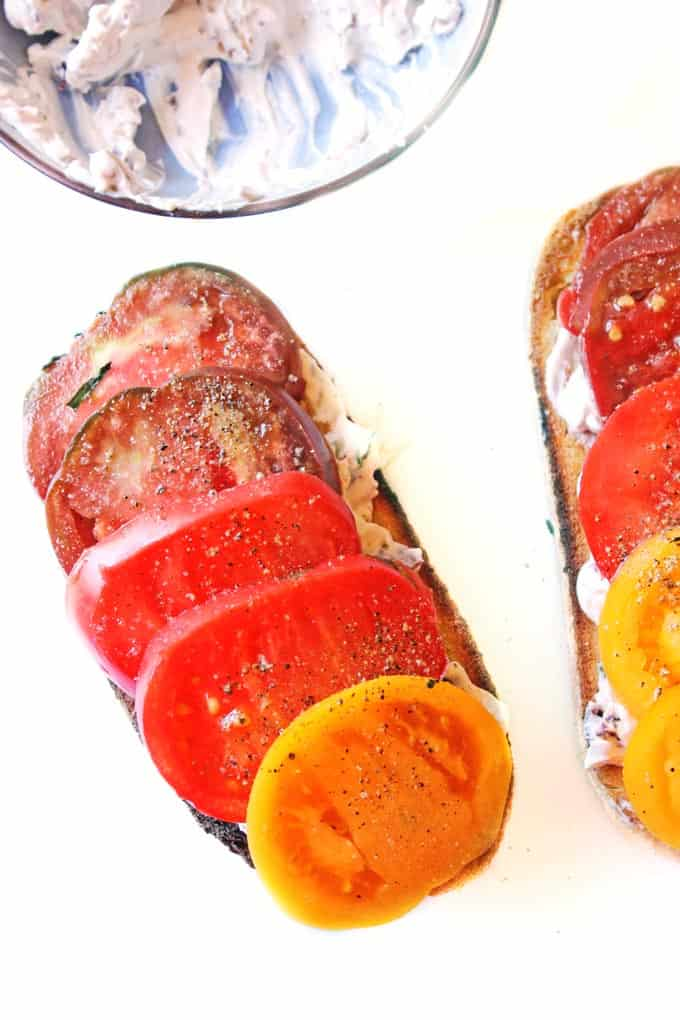 Heirloom tomato toast with olive walnut basil cream cheese // Rhubarbarians