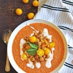 Tomato gazpacho with crispy falafel chickpeas // Rhubarbarians