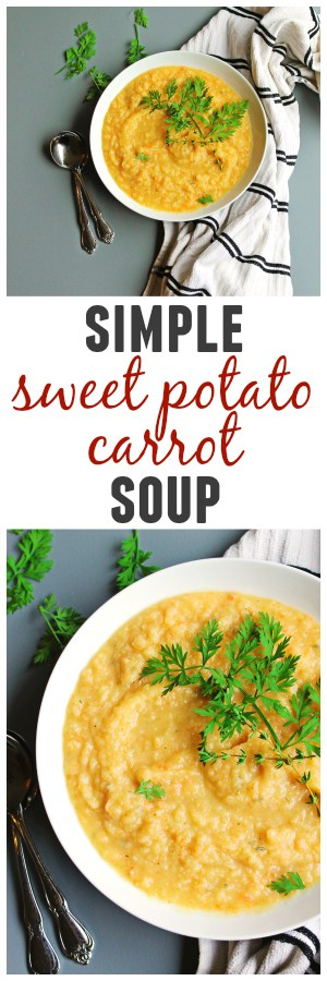 Simple, creamy sweet potato carrot soup! This vegan soup is loaded with fresh herbs and flavor. Perfect for a weeknight meal. Vegan, gluten free, Paleo friendly. So good!