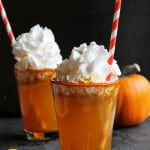 Homemade pumpkin spice soda recipe! An old fashioned style pumpkin spice soda made with pumpkin spice syrup and topped with whipped cream. YUM!