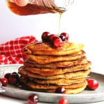 Crispy cranberry buttermilk pancakes! These old fashioned cranberry buttermilk hot cakes are the BEST you will ever taste!