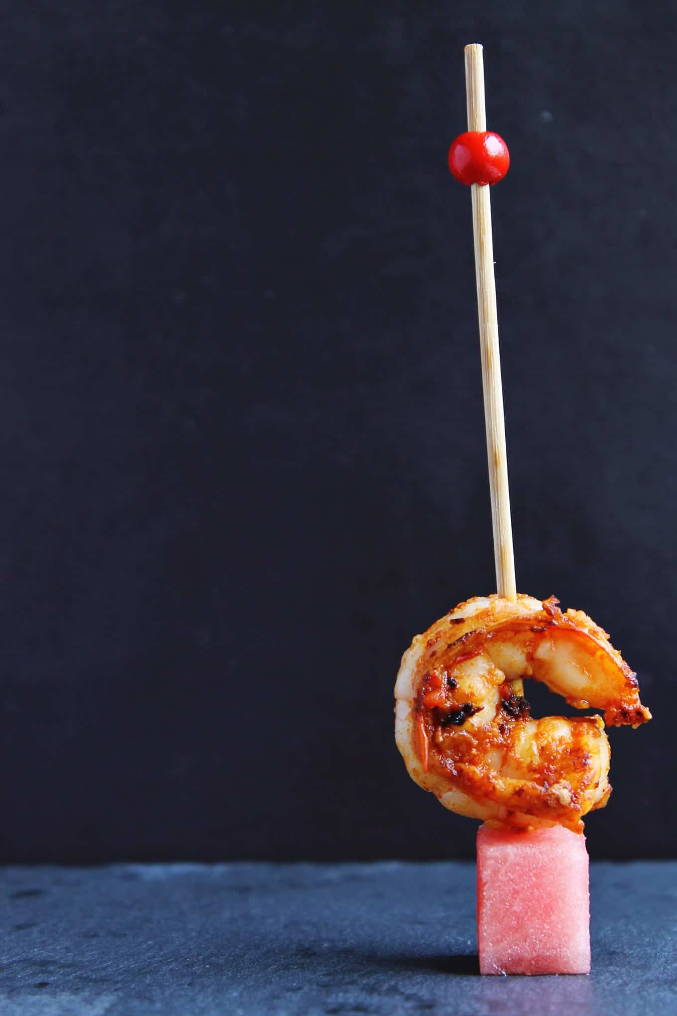 Spicy harissa shrimp and watermelon bites recipe! The perfect easy, healthy, appetizer for your next barbecue. SOOOO tasty!