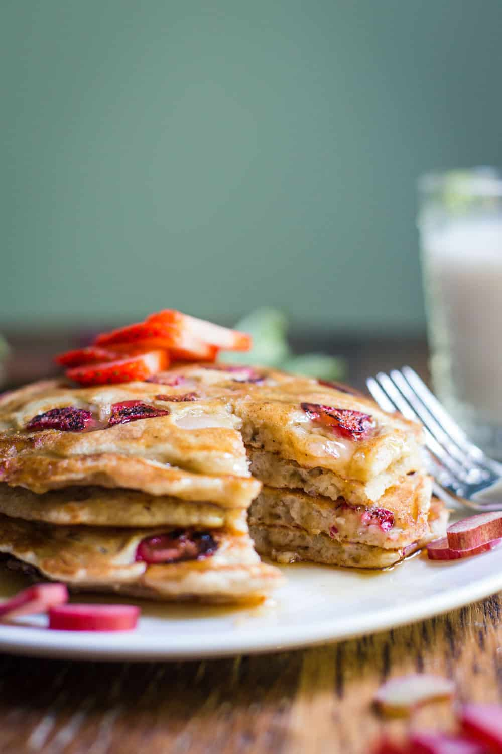rhubarb pancakes on a white plate