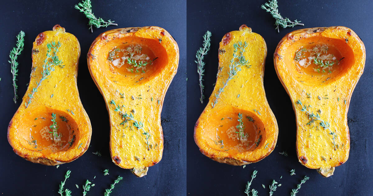 Roasted butternut squash with thyme honey butter | Rhubarbarians