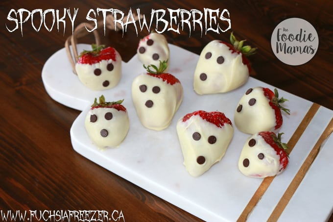 Spooky strawberries plus 4 more fun, family friendly Halloween treat recipes from The Foodie Mamas! Sure to make your Halloween party the best on the block!