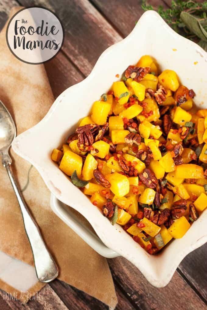 Maple cayenne butternut squash with pancetta and pecans + 14 amazing holiday side dishes! Amazing holiday side dish recipes from your favorite food bloggers, The Foodie Mamas!