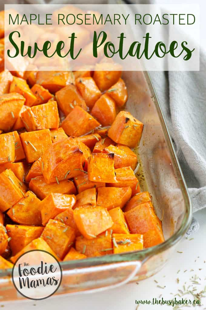 Maple rosemary sweet potatoes + 14 amazing holiday side dishes! Amazing holiday side dish recipes from your favorite food bloggers, The Foodie Mamas!