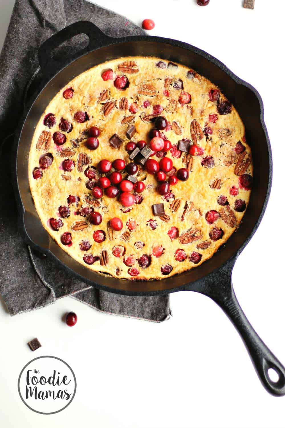 Cranberry clafoutis with dark chocolate and pecans + 10 amazing holiday dessert recipes! Amazing holiday dessert recipes from your favorite food bloggers, The Foodie Mamas!