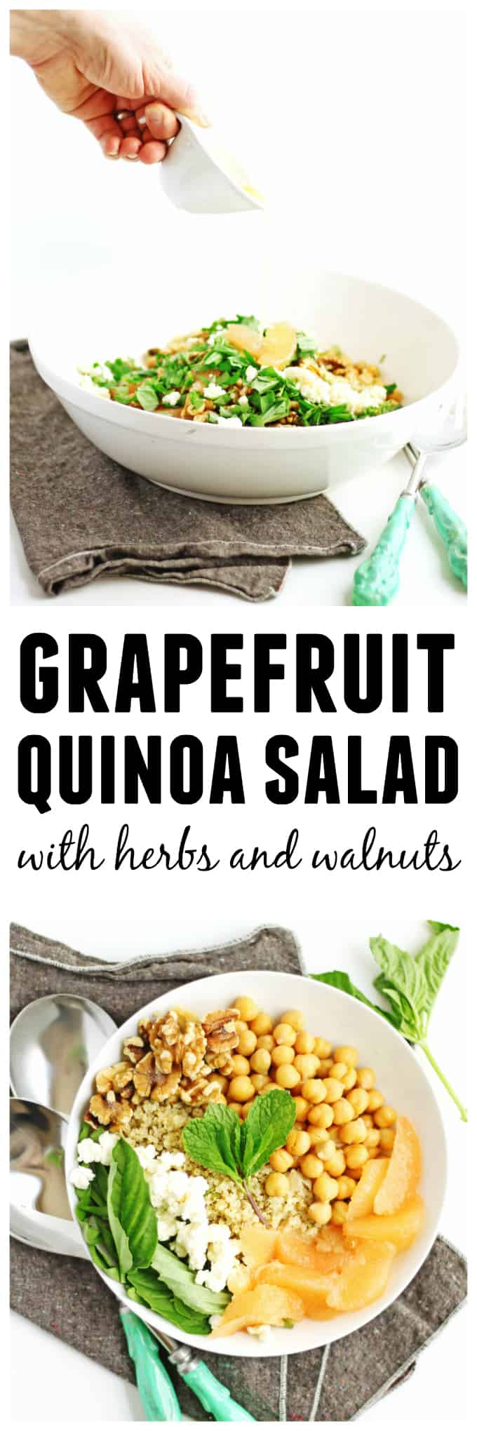 Easy grapefruit quinoa salad recipe! A bright, healthy, protein packed vegetarian salad your whole family will love. The perfect winter or spring lunch or dinner! Vegetarian, gluten free, and easily adapted to a vegan or paleo diet. // Rhubarbarians