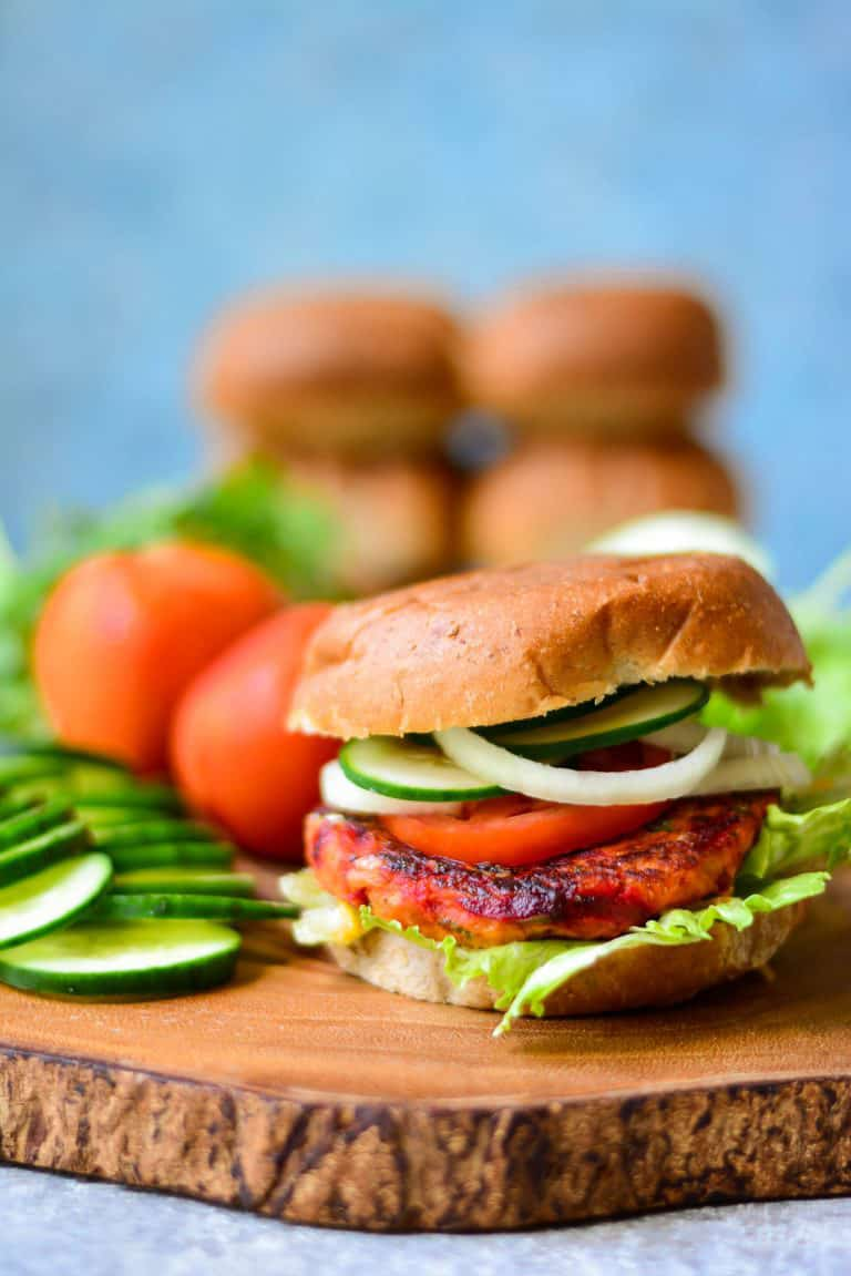 Vegan sweet potato burger + 15 Farmers market recipes to make in February! Delicious, winter, (mostly) healthy recipes made with fresh, seasonal produce from your local farmers market or CSA bin. Eat local!
