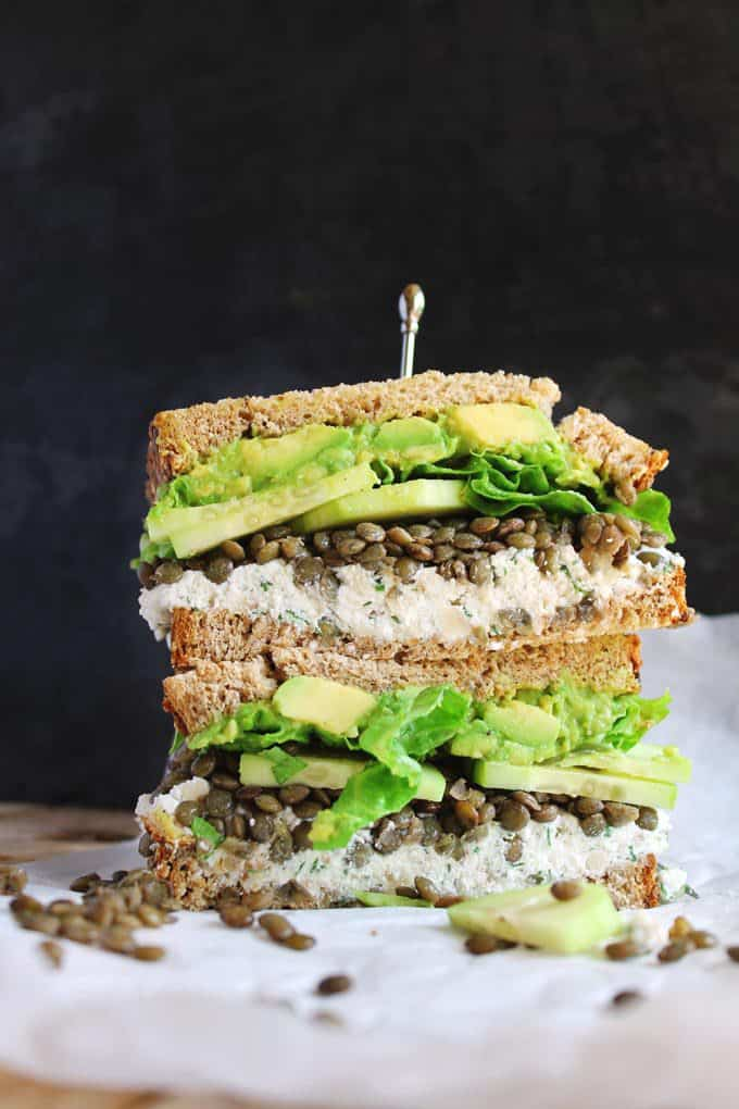 Spring green lentil sandwiches with walnut herb ricotta + 15 Farmers market recipes to make in April! Delicious, vegetarian, (mostly) healthy spring recipes made with fresh, seasonal produce from your local farmers market or CSA bin. Eat local! // Rhubarbarians