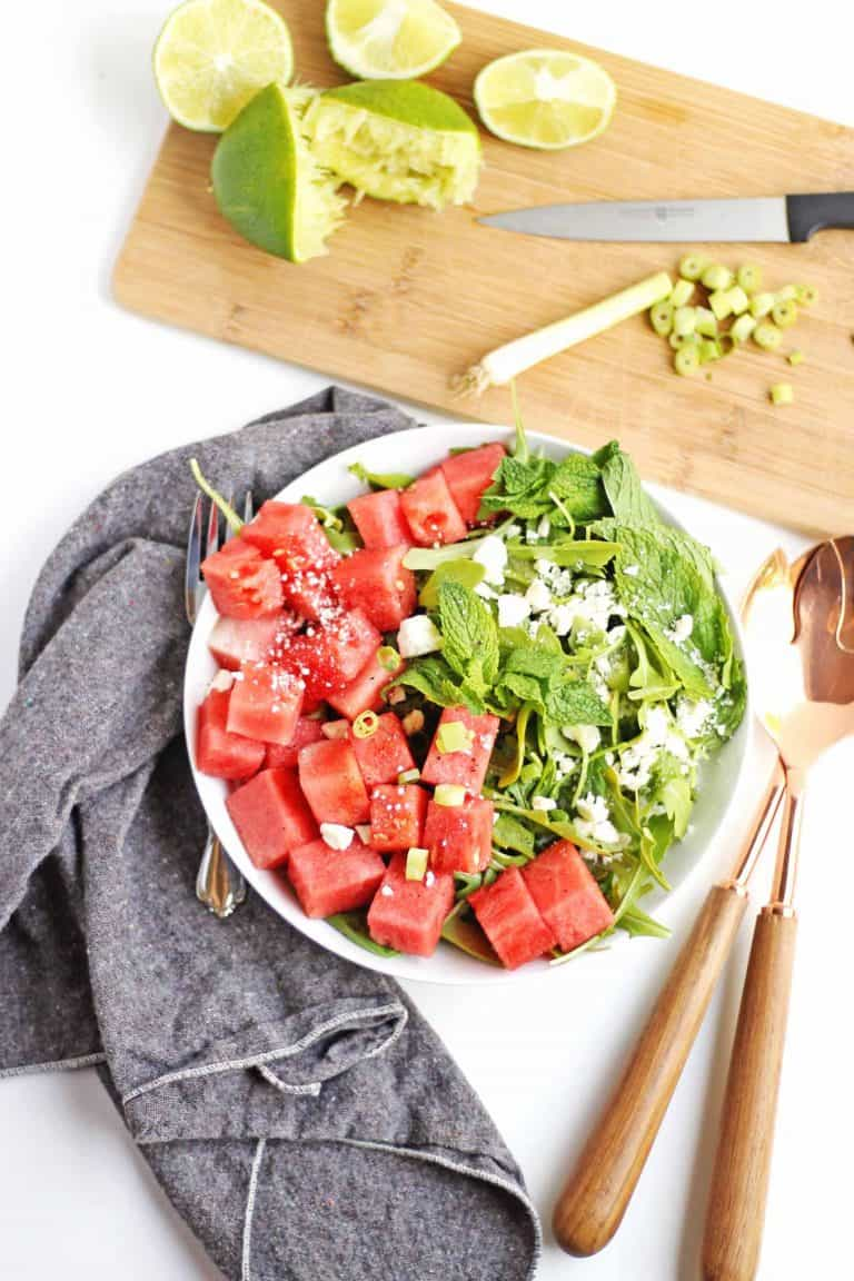 watermelon and arugula feta salad with squeezed limes