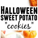 "Halloween sweet potato ""cookies"" recipe! Your kids will love these roasted sweet potato bites cut into Halloween shapes. Only 3 healthy ingredients. Try them out with other root veggies for more healthy Halloween snacks! // Rhubarbarians.com #halloweenrecipes #sweetpotatorecipes #toddlerrecipes #healthykidsrecipes #toddlerfood"