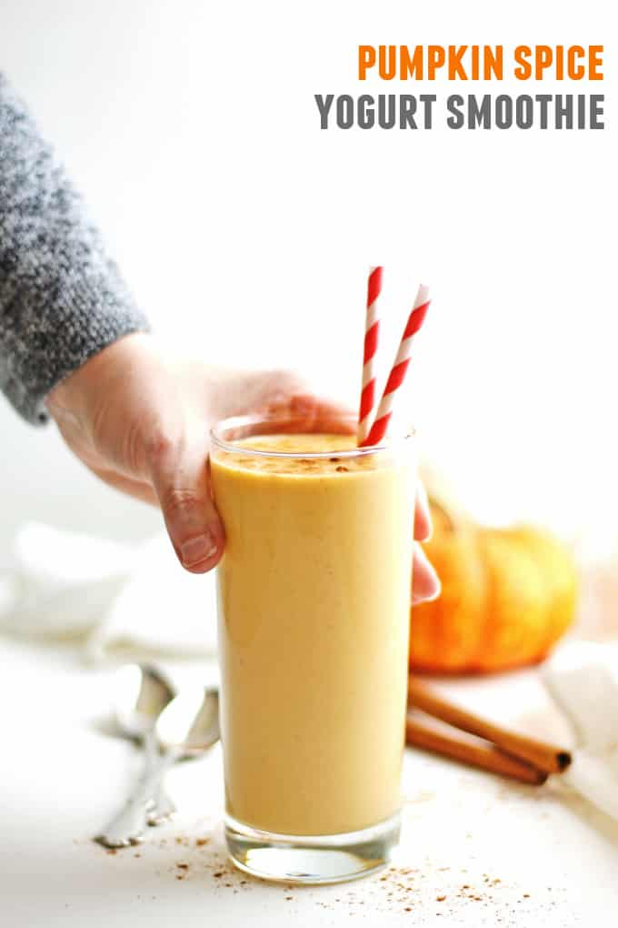 Pumpkin spice probiotic smoothie recipe! A super healthy way to get your pumpkin spice fix, with a big dose of probiotic filled yogurt and raw honey. Tastes just like drinkable pumpkin pie! YUM! #probioticsmoothie #healthysmoothie #pumpkinspice #pumpkinrecipes #pumpkinsmoothie #fallsmoothie #probiotics #yogurtsmoothie