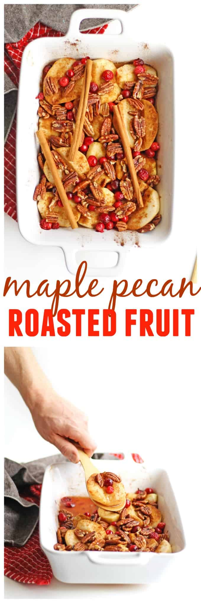 Vegan maple pecan fall fruit bake recipe! Roasted fall fruit you can eat as a side dish, with yogurt, or as a healthy dessert! // Rhubarbarians / breakfast / baked apples / roasted apples / #maplepecan #healthydessert #fallbreakfast #vegan #recipe #fruitbake #roastedfruit