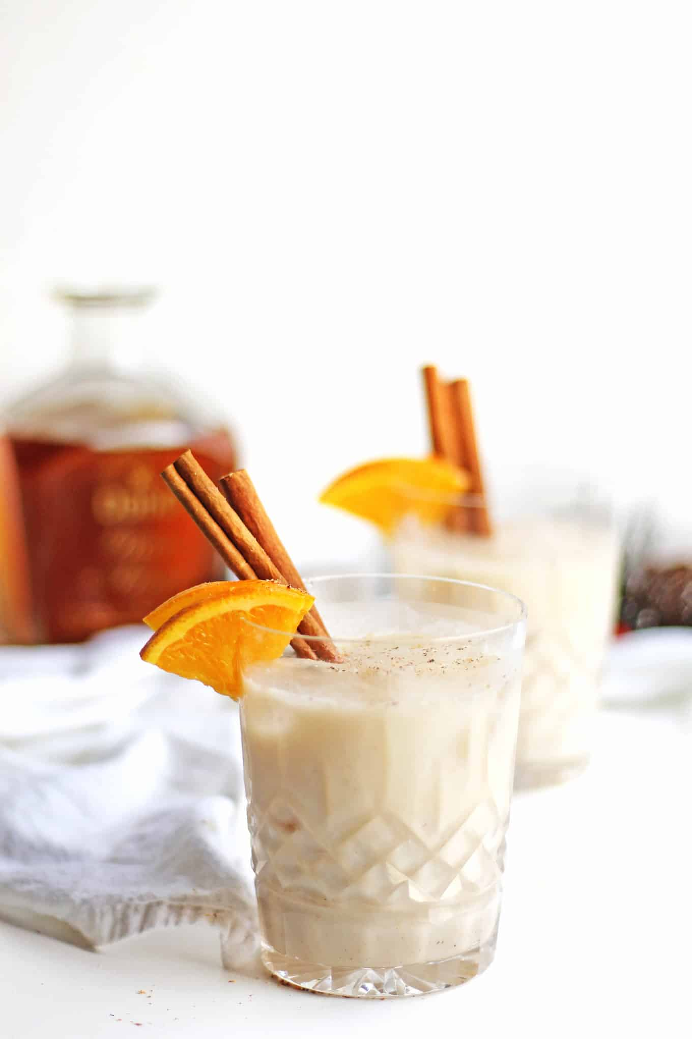 Vegan coquito with cinnamon stick