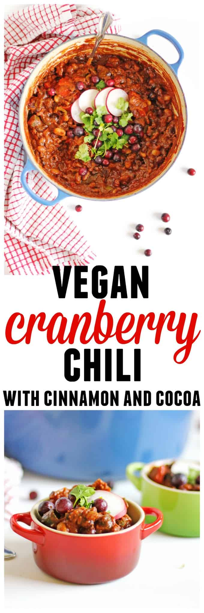 Vegan cranberry chili with cinnamon and cocoa recipe! A warming, cozy fall or winter dinner the whole family will love. // Rhubarbarians // vegan dinner / vegetarian dinner / vegan comfort food / vegetarian comfort food / cranberry recipes / savory cranberry / #vegan #vegandinner #comfortfood #falldinner #cranberry #vegetarian