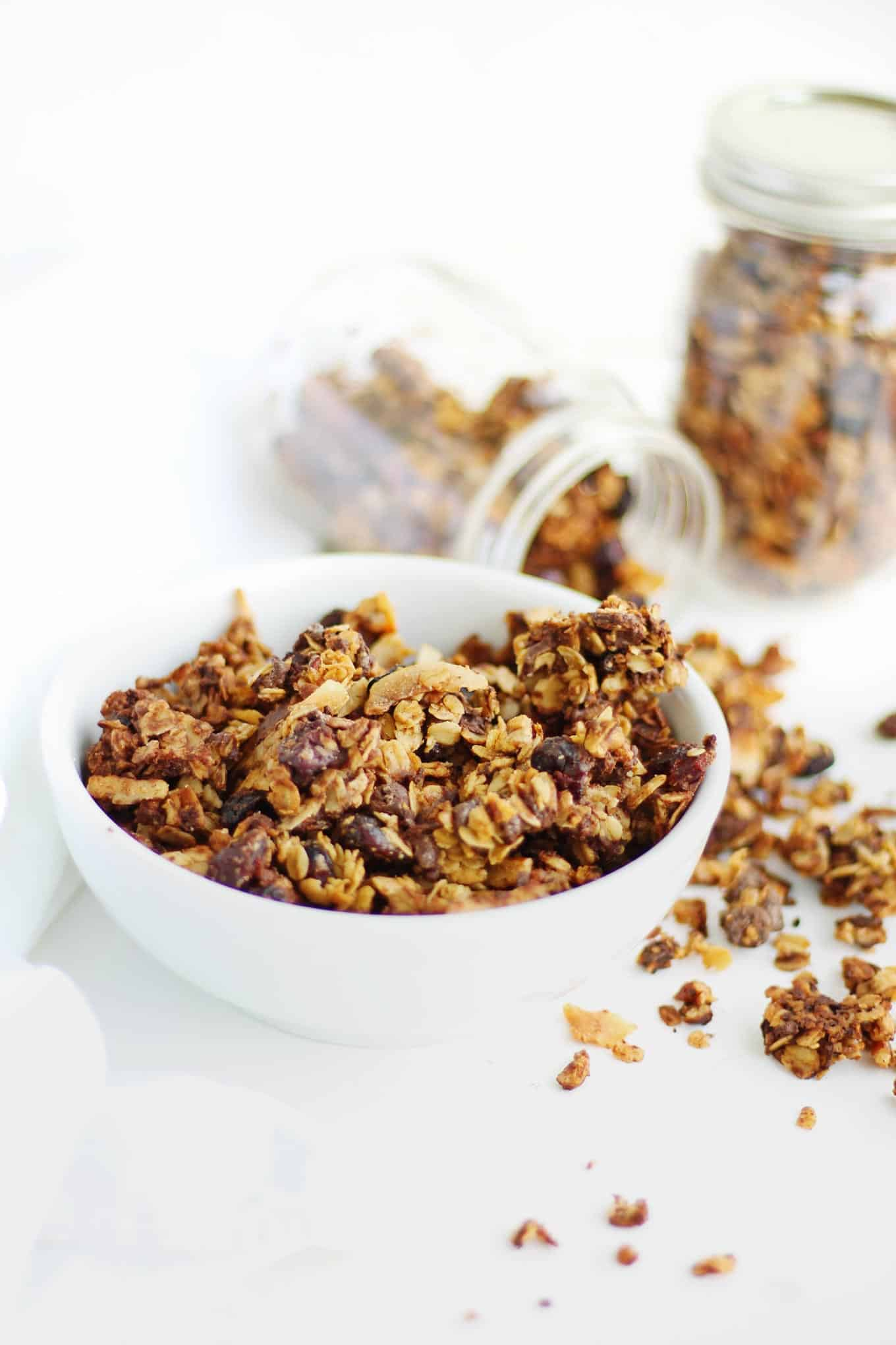 This granola tastes like oatmeal cookies! Super easy recipe for delicious coconut granola with cranberries and dark chocolate. So much better than store bought! // Rhubarbarians // #granola #oatmealcookies #breakfast #homemade #recipe #oatmeal