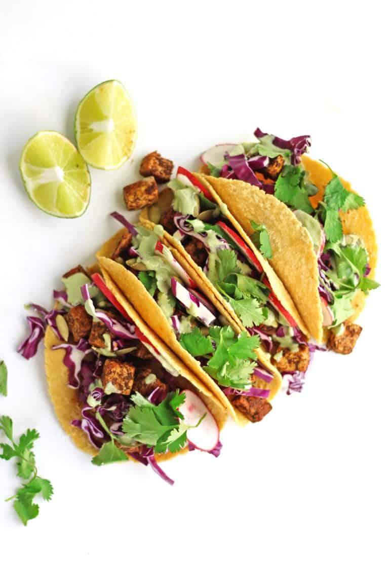 Vegan tofu tacos