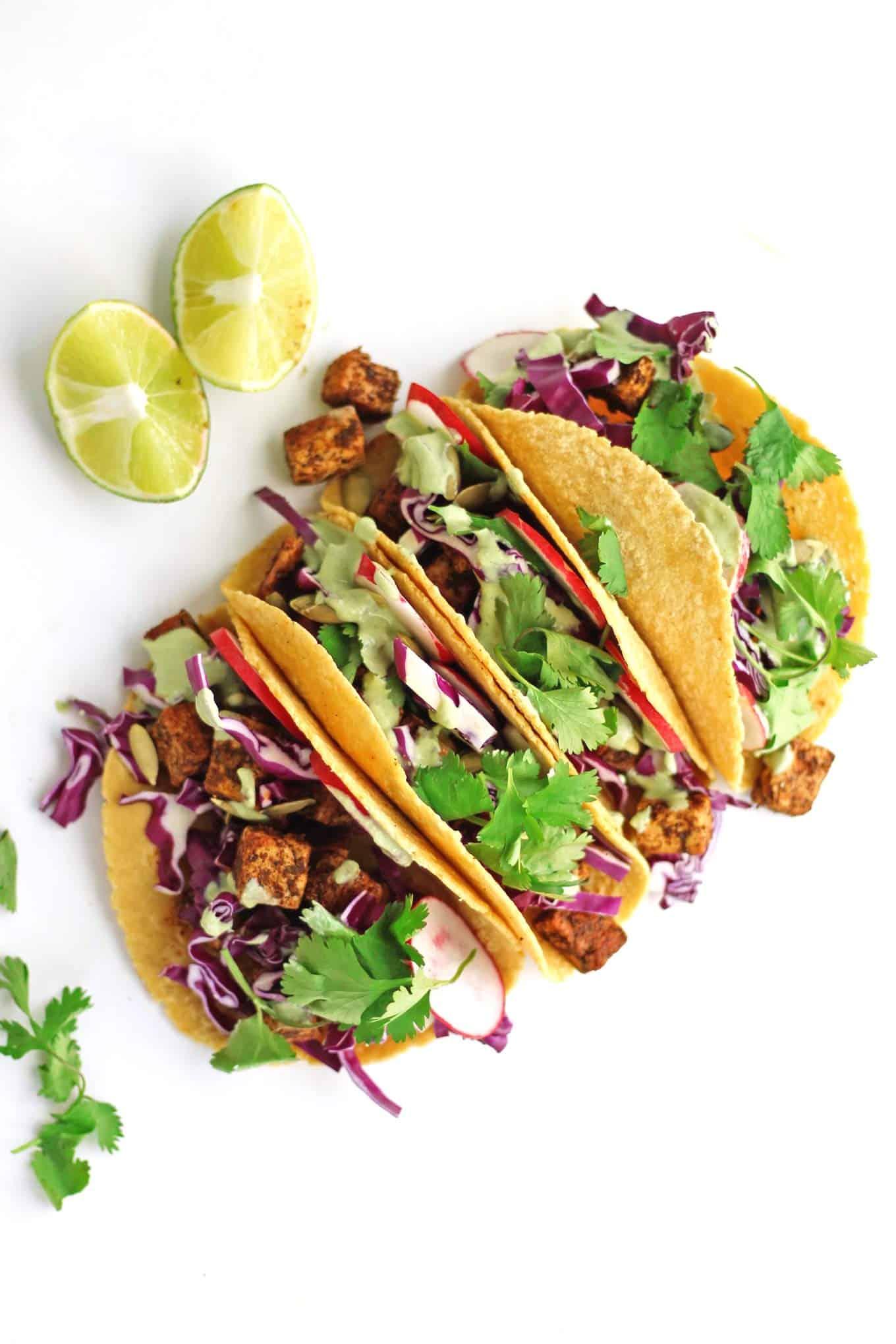Crispy tofu tacos with cilantro sauce