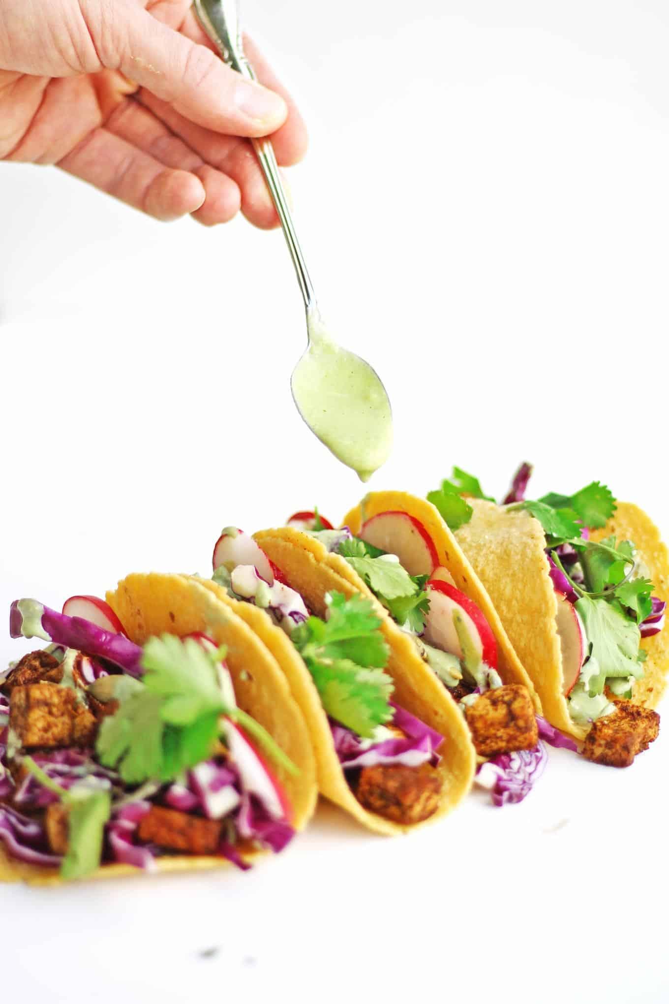 Vegan tofu tacos with cilantro sauce