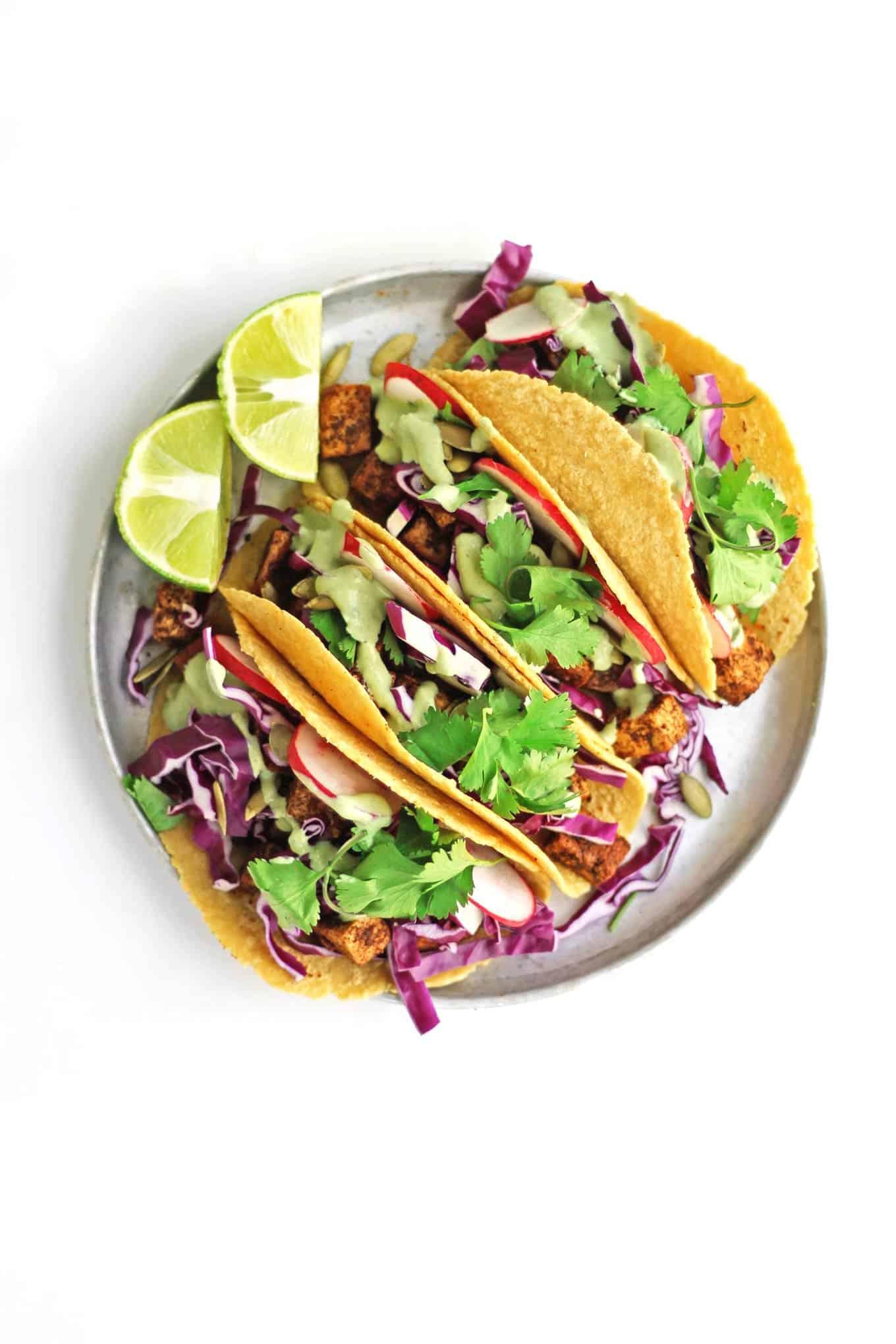 Vegan tacos with cilantro