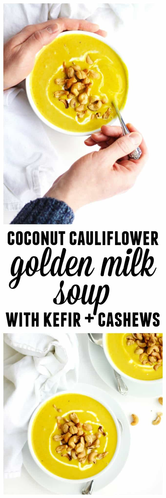 Coconut cauliflower golden soup with kefir recipe! A healing, turmeric golden milk soup with creamy cauliflower, sweet coconut, and tangy kefir. // Rhubarbarians