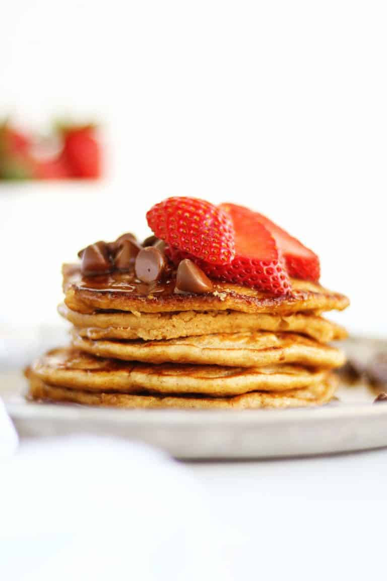 stack of oat flour pancakes