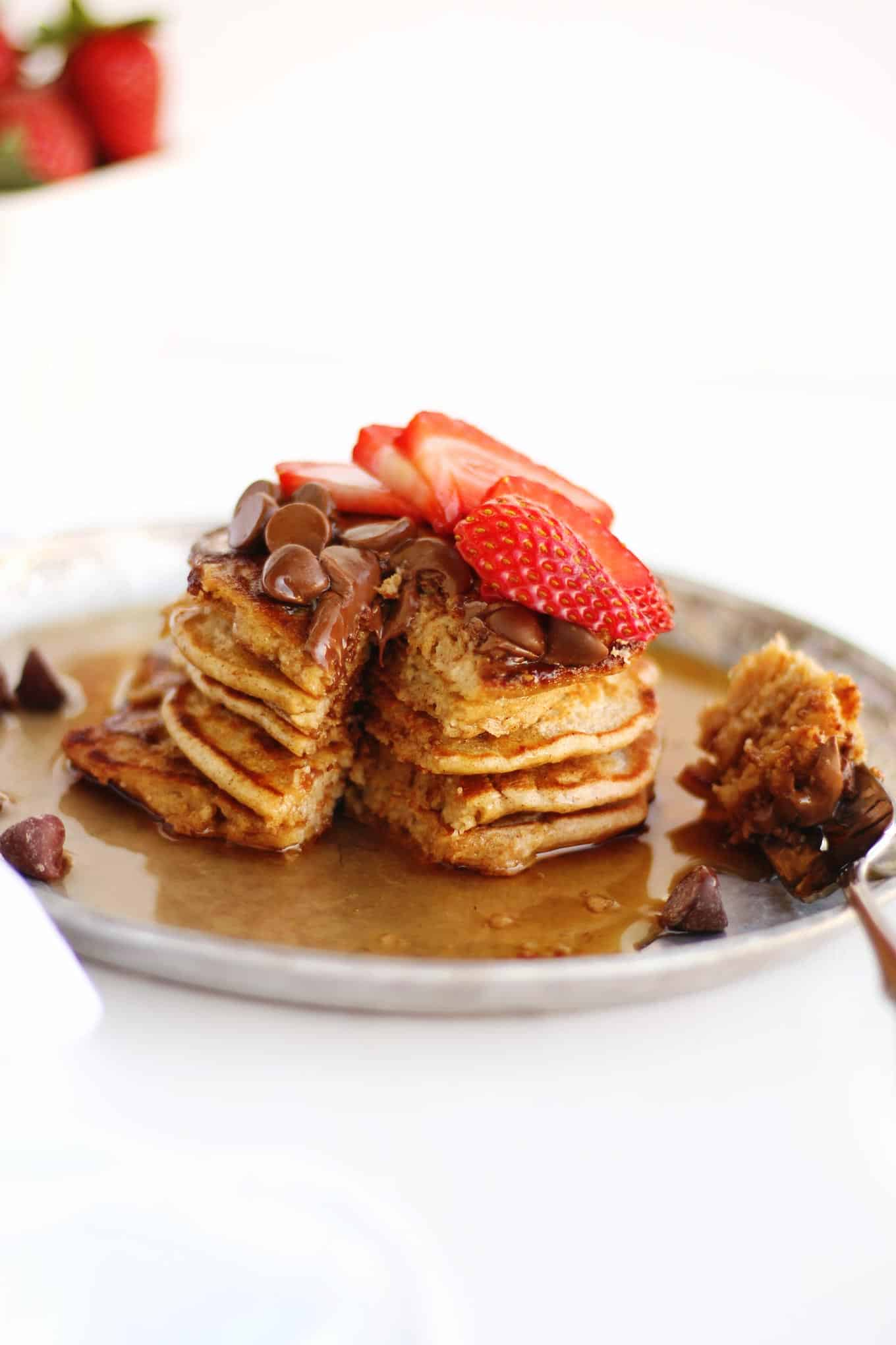 oat flour pancakes with syrup