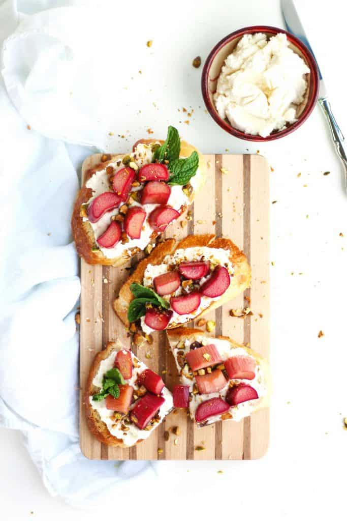 Roasted rhubarb and ricotta toast