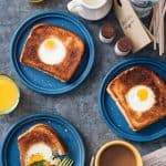 Amazing grilled cheese with egg in the hole recipe! Egg in a grilled cheese nest recipe from the Portlandia cookbook. The perfect vegetarian weekend breakfast! // Rhubarbarians