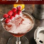 Cranberry orange whiskey manhattan pinterest pin