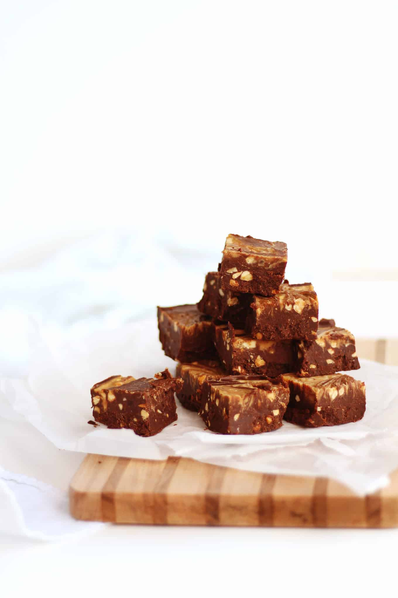 chocolate coconut oil fudge stacked