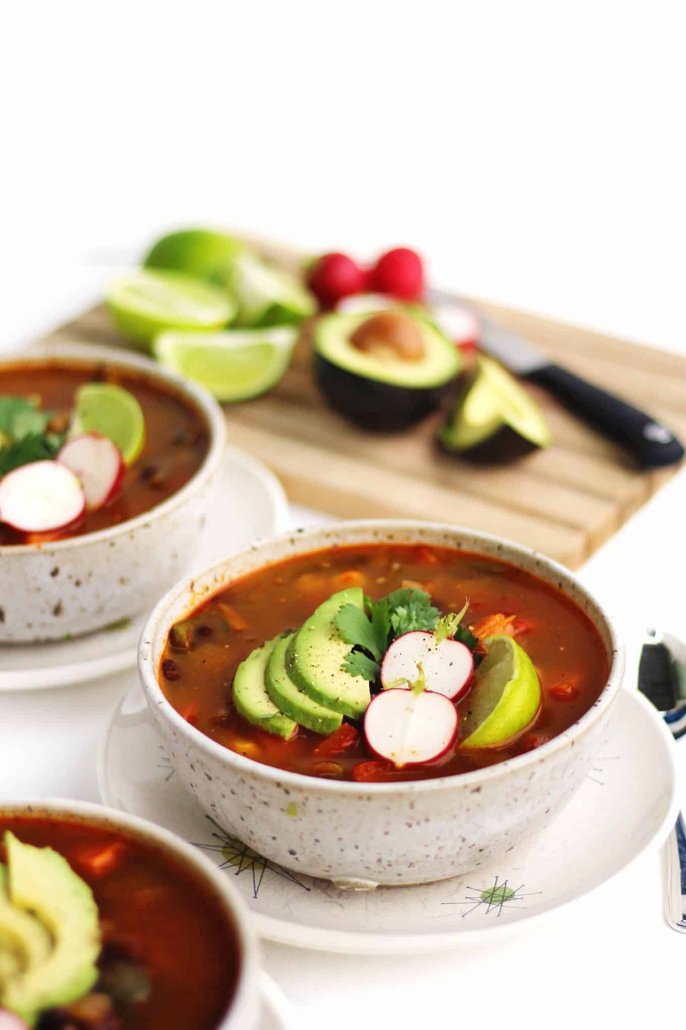 bowl of vegan posole