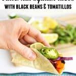 vegan black bean tacos with text