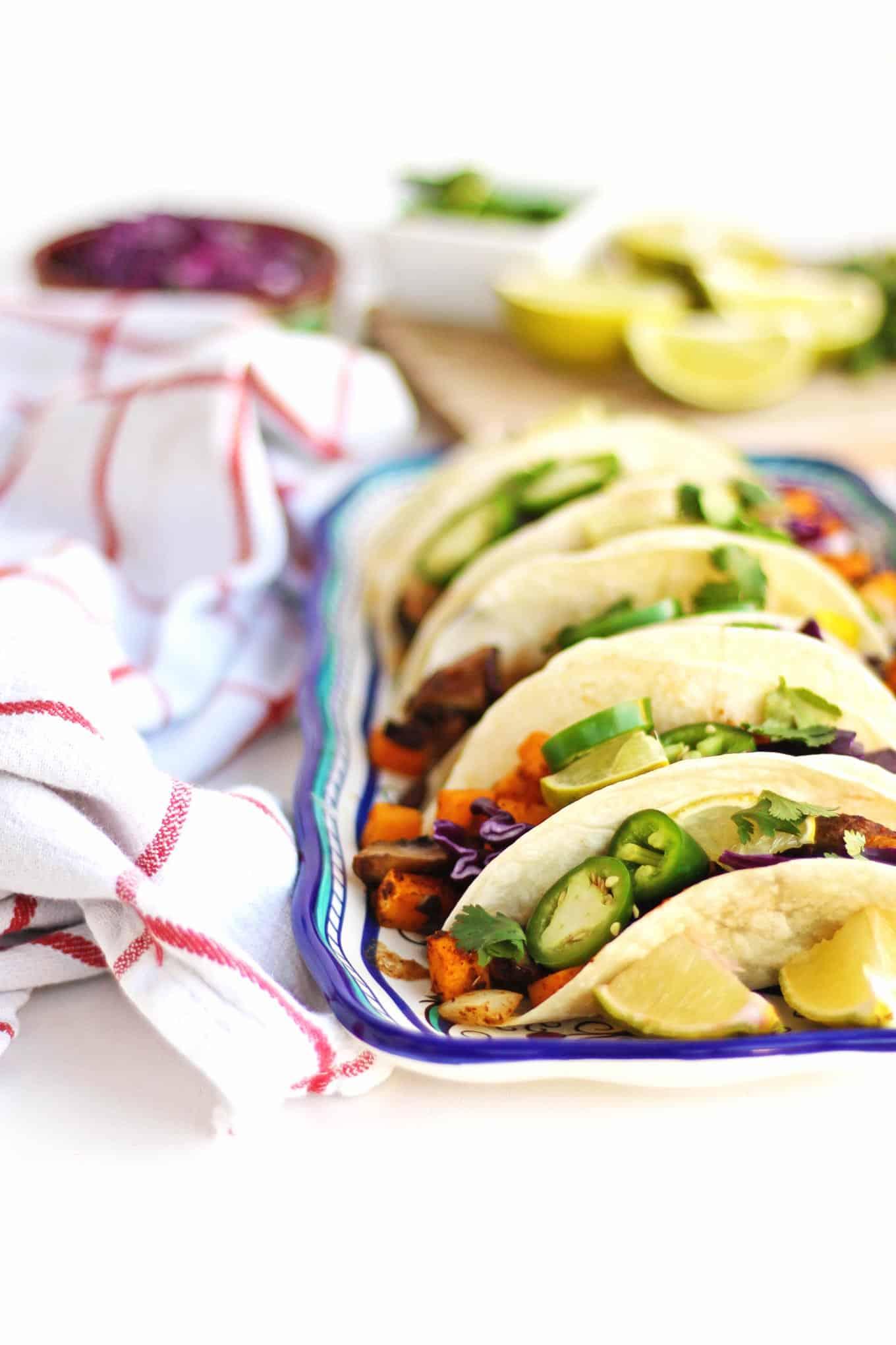 vegan black bean tacos on a plate
