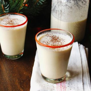 a glass of the best eggnog
