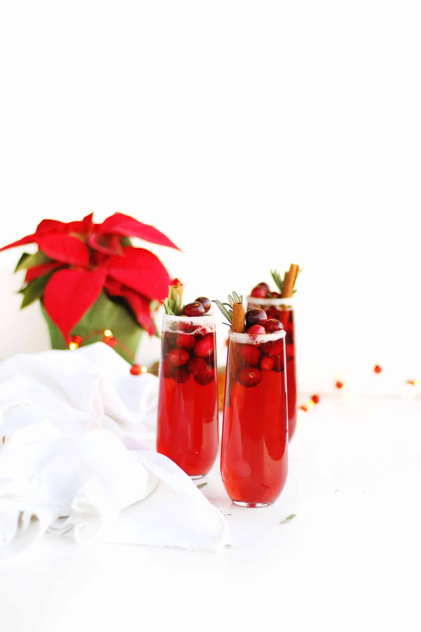 cranberry mimosa holiday mocktail or cocktail