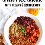 vegan sweet potato wild rice salad with text
