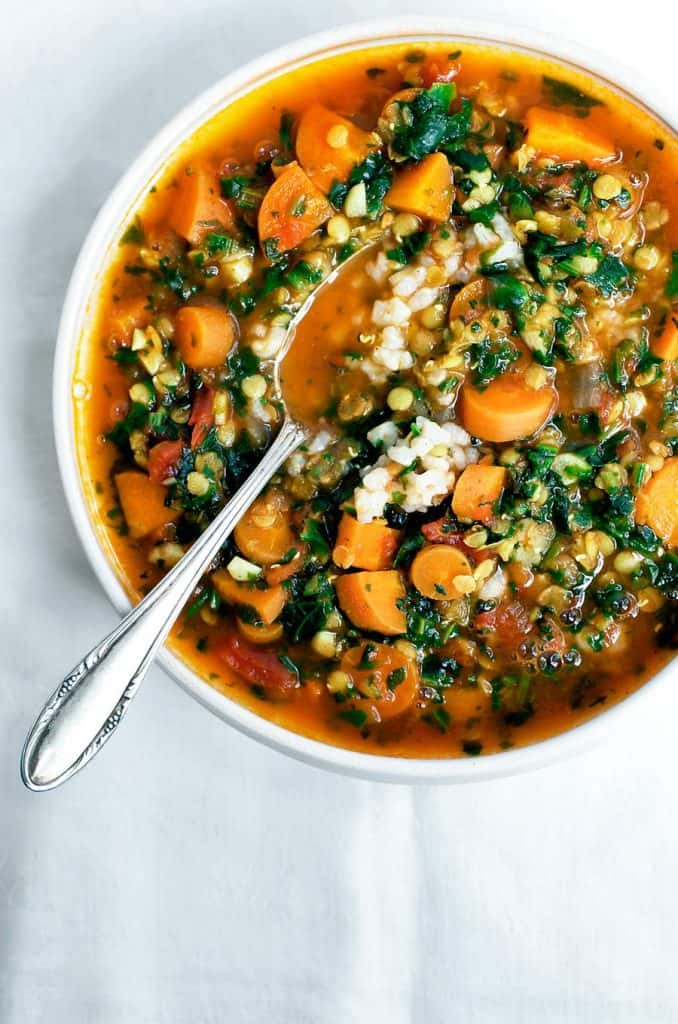 lentil soup + easy weeknight vegetarian dinners