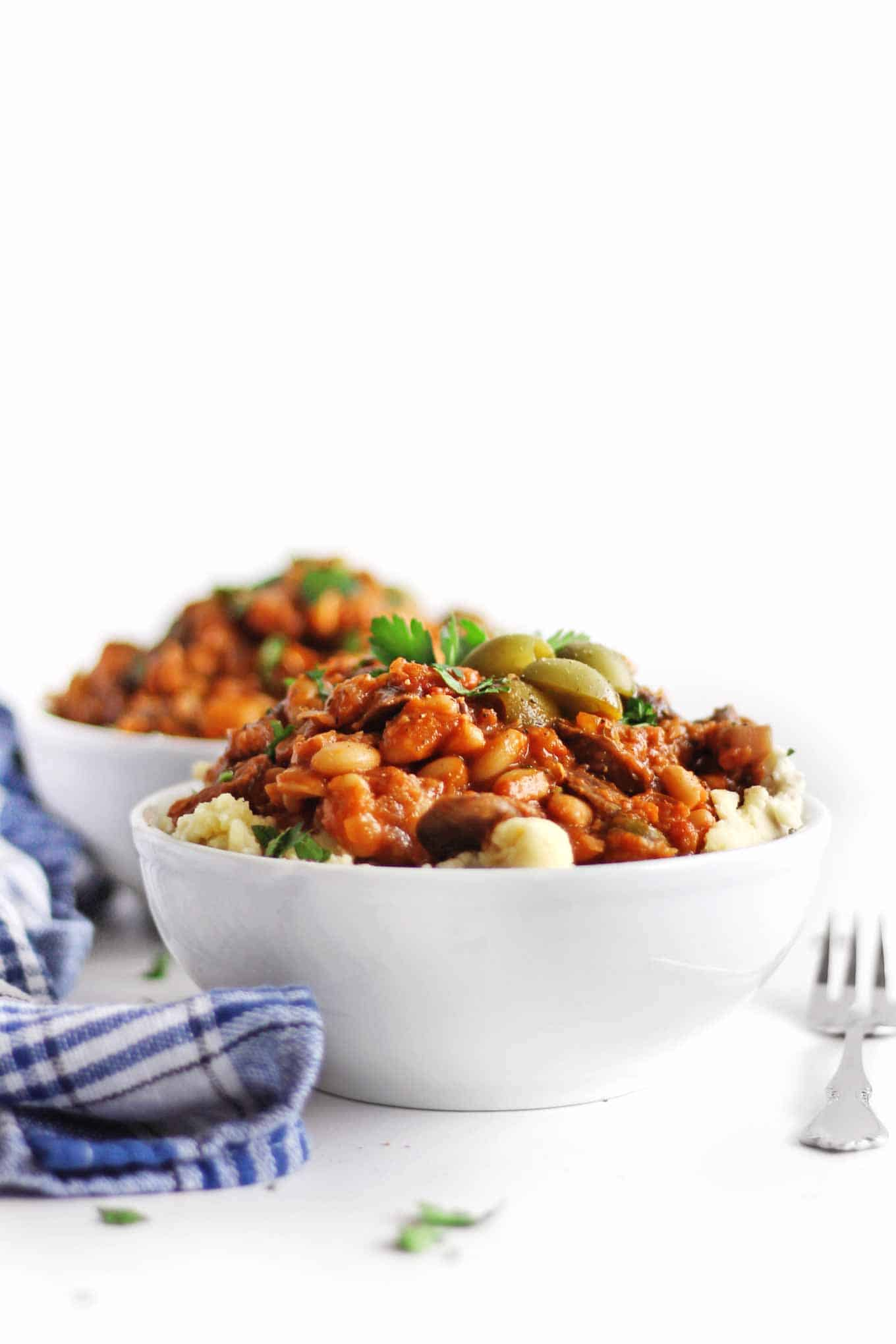 vegan cacciatore with white beans
